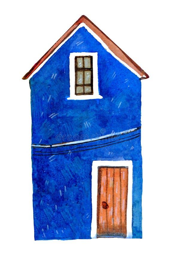 Blue old stone european house. Hand drawn cartoon watercolor illustration vector illustration
