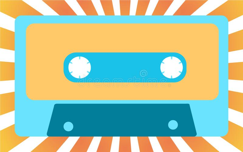 Blue old, vintage, retro, hipster, musical audiocassette from the 80`s, 90`s against the background of yellow sunlight. royalty free illustration