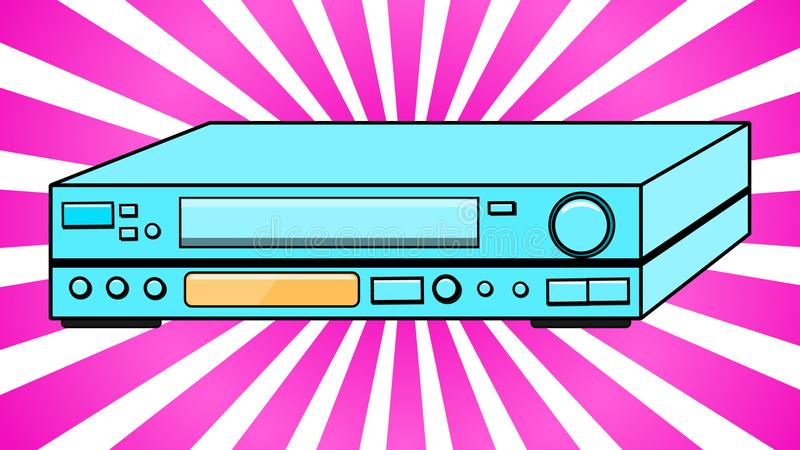 Blue Old Vintage Volumetric Retro Hipster Antique VCR for videocassettes for watching movies, videos from the 80`s, 90`s against stock illustration