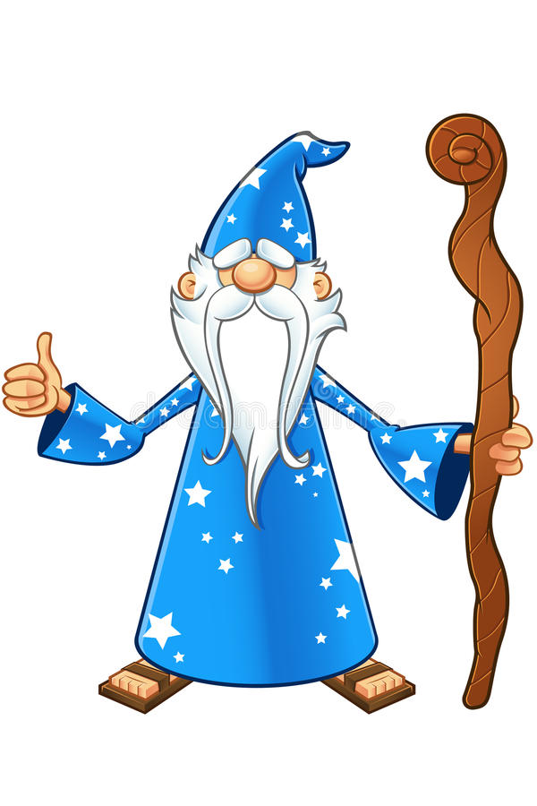 Blue Old Wizard Character vector illustration