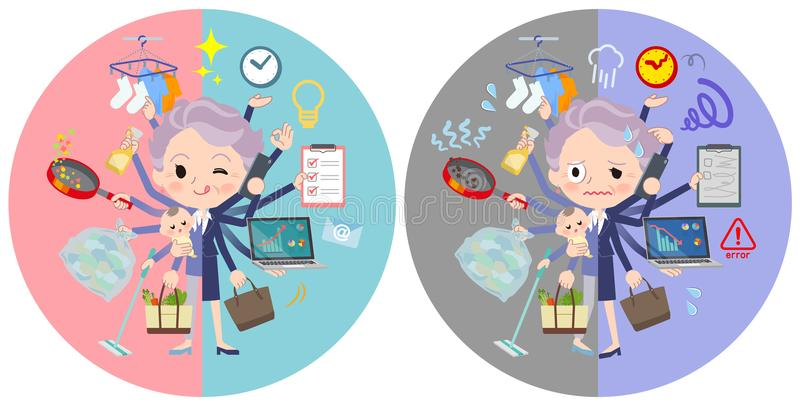 Blue one piece old women_mulch task switch royalty free illustration