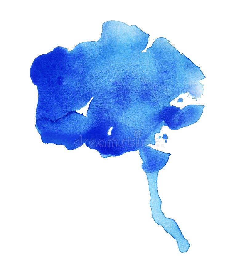 Blue Oozing Watercolor Blob. Handmade illustration of blue watercolor royalty free illustration