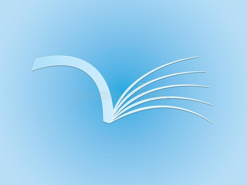 A blue open book for reading to share knowledge logo for school and college. Vector illustration vector illustration