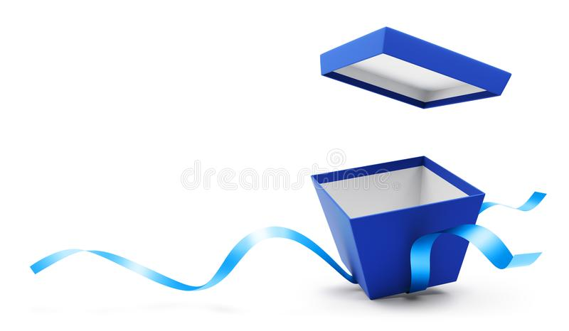 Blue open gift box with ribbon vector illustration