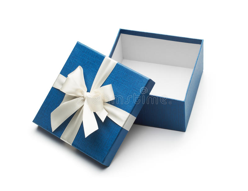 Blue Open Gift Box With White Bow stock images