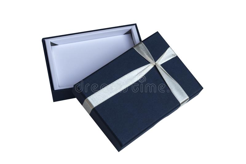 Blue open gift box with white bow isolated on white stock photos