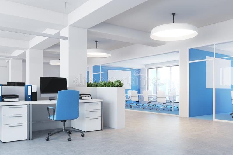 Blue open space office interior side royalty free illustration