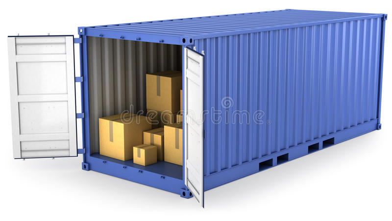 Blue opened container with carton boxes inside royalty free illustration