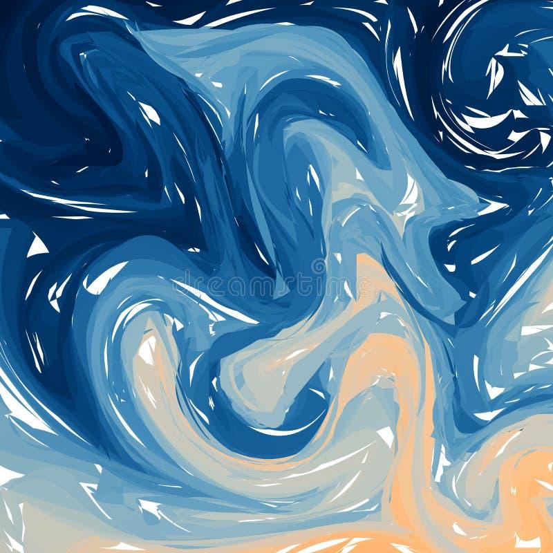 Blue orange digital marbling. Elegant marbled vector background. Liquid paint marbling backdrop. Cool color palette mesh. Background. Pale marbling texture royalty free illustration