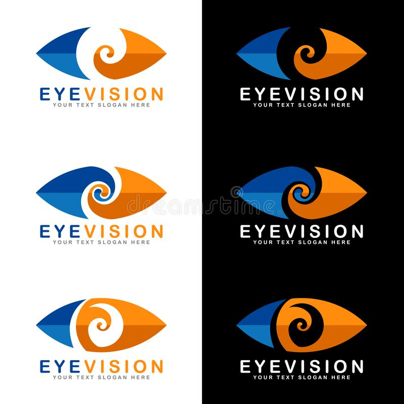 Blue and orange eye vision logo signs on white and black background vector art design royalty free illustration