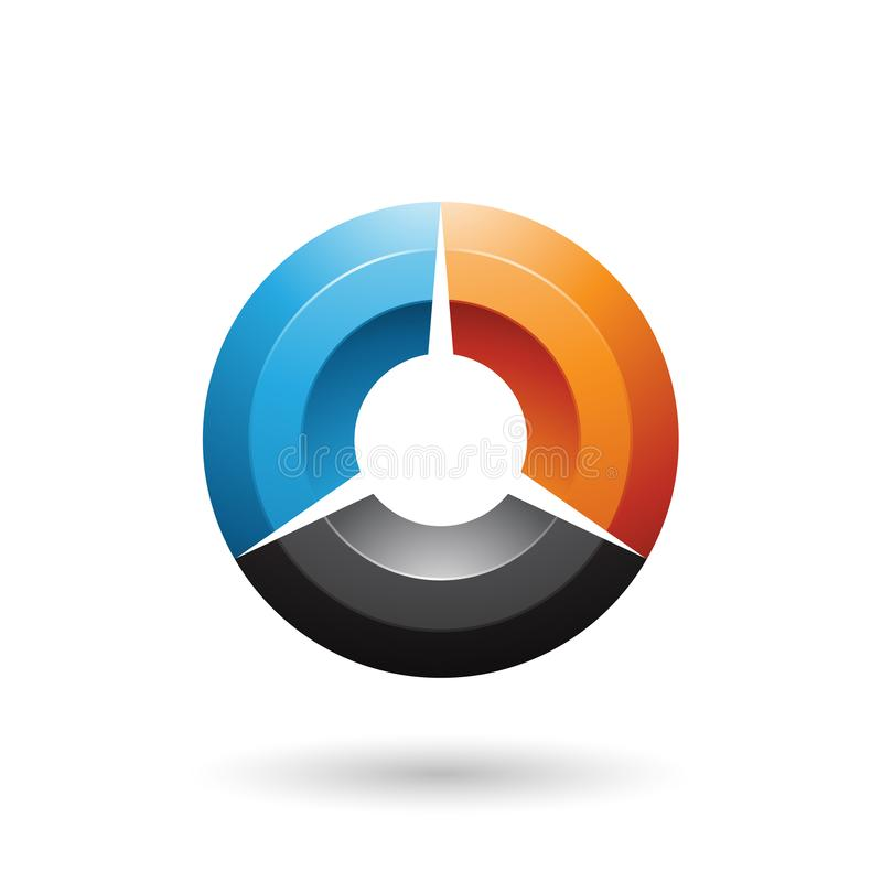 Blue and Orange Glossy Shaded Circle Vector Illustration vector illustration