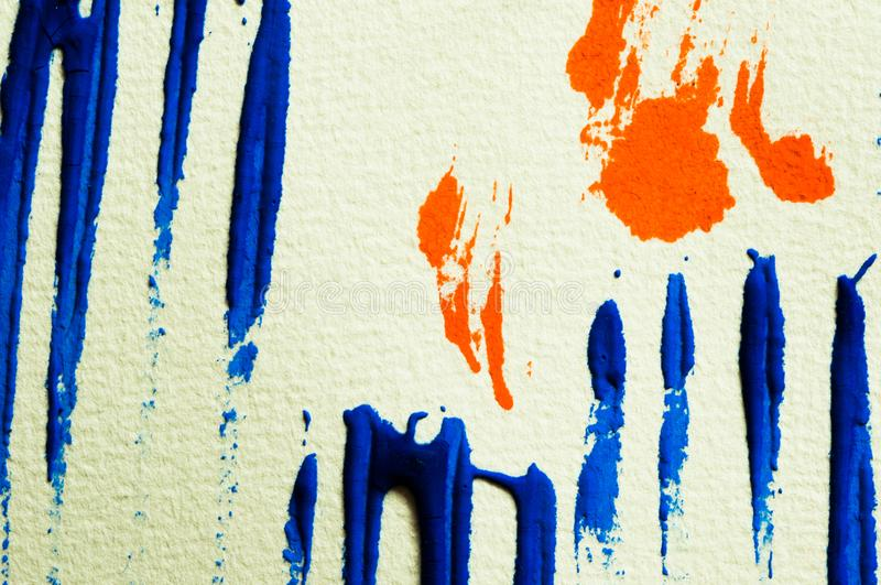 Blue and orange gouache color, image detail. Apprehend abstract painting, printmaking, brilliant blue and orange gouache watercolor on white, image detail royalty free stock image