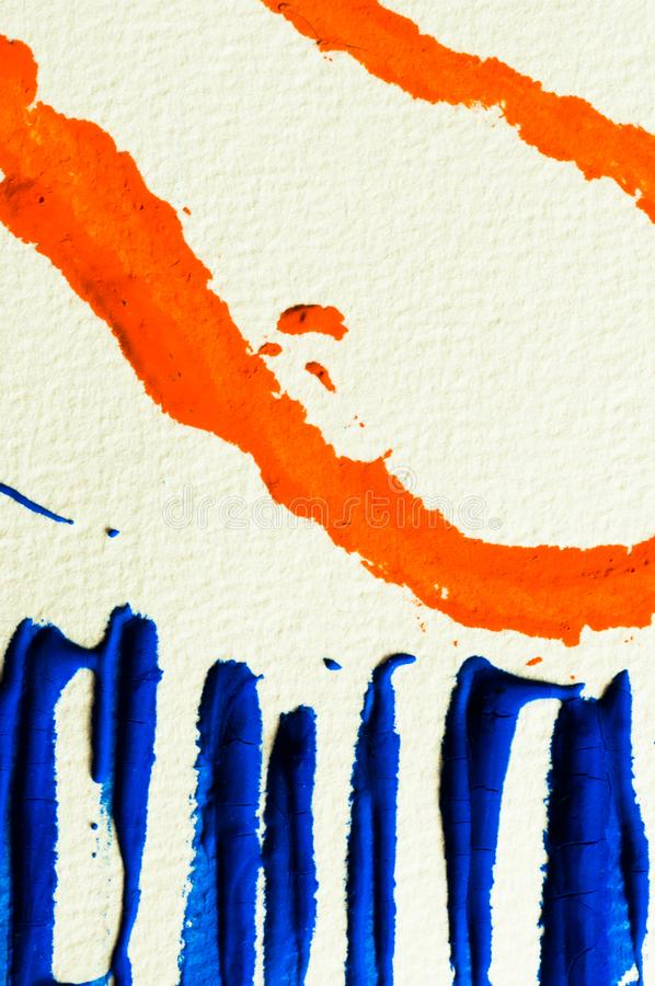 Blue and orange gouache color, image detail. Apprehend abstract painting, printmaking, brilliant blue and orange gouache watercolor on white, image detail royalty free stock photo