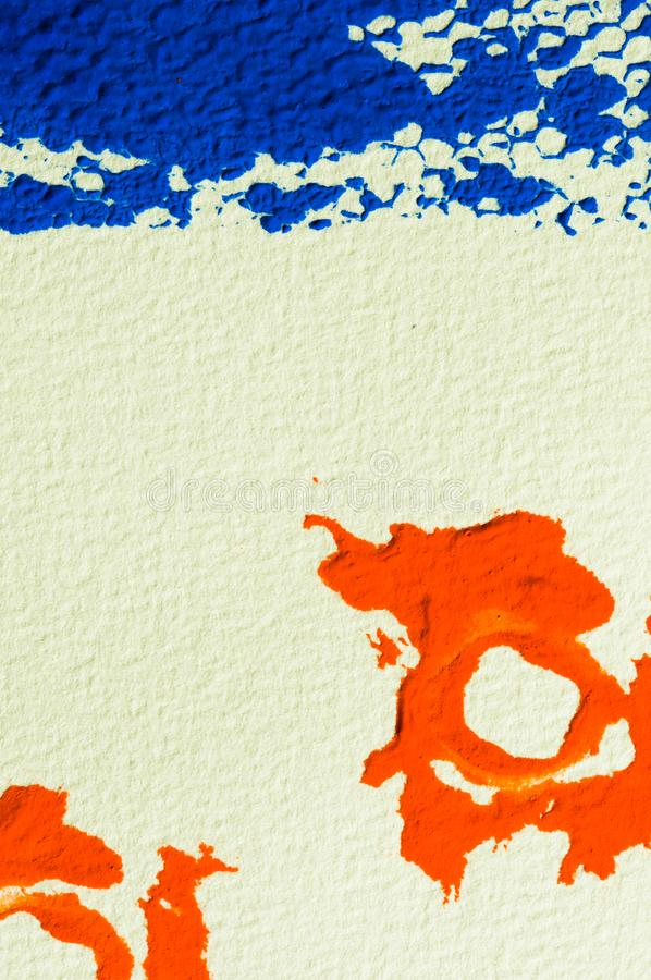 Blue and orange gouache color, image detail. Apprehend abstract painting, printmaking, brilliant blue and orange gouache watercolor on white, image detail stock images