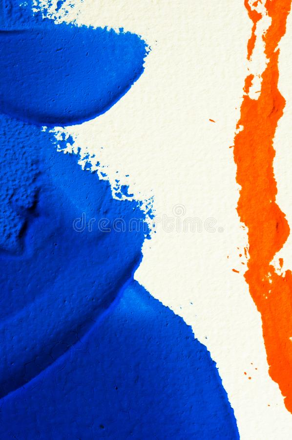 Blue and orange gouache color, image detail. Apprehend abstract painting, printmaking, brilliant blue and orange gouache watercolor on white, image detail stock image