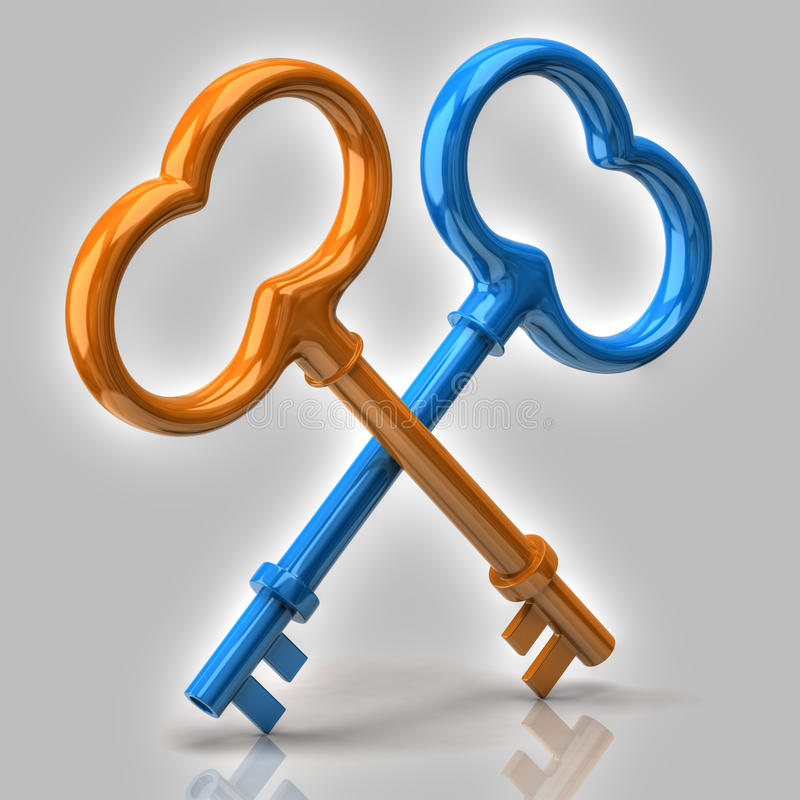 Blue and orange keys royalty free illustration