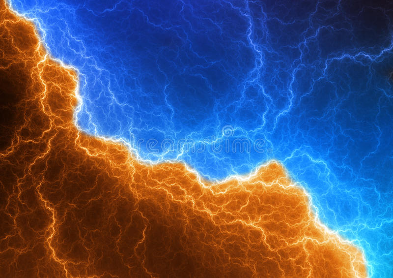 Blue and orange lightning stock illustration