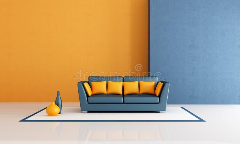 Blue and orange living room vector illustration