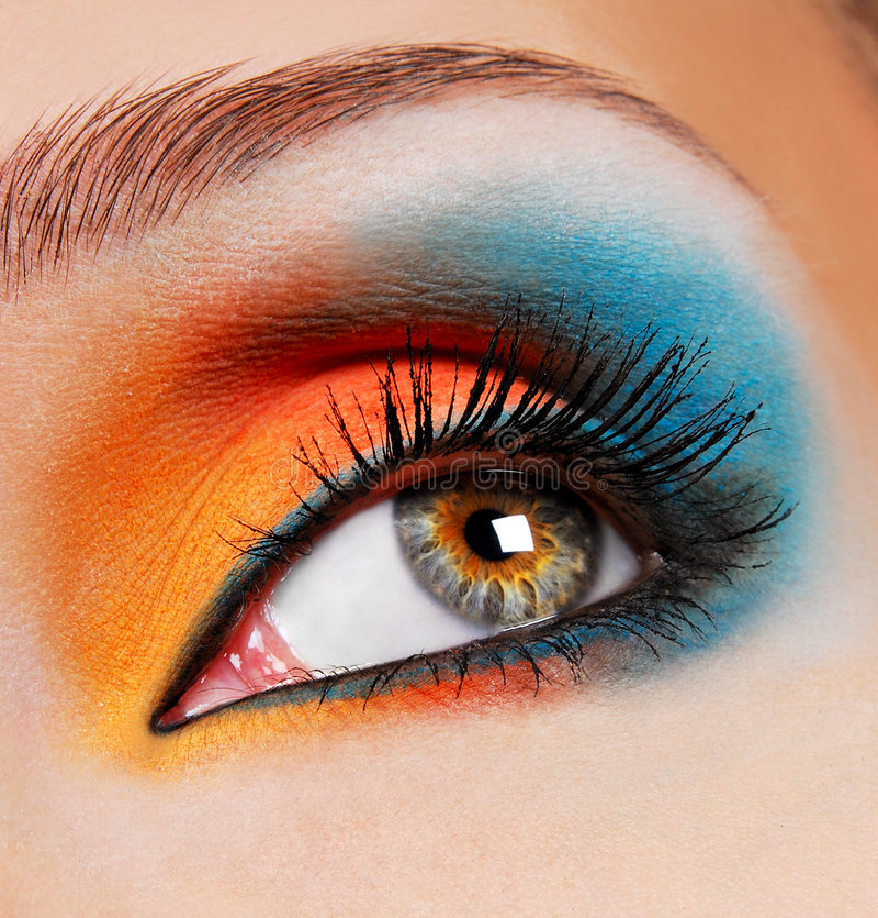 Blue-orange make-up. royalty free stock photos