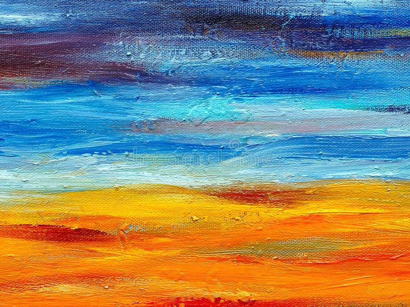 Blue and orange oil paint brush strokes. stock photo