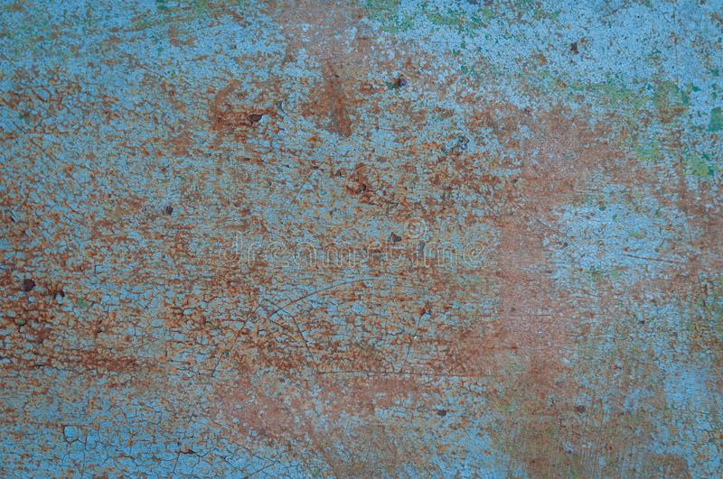 Blue and orange painted rusty grunde textured surface. Aqua blue and orange painted rusty grunde textured surface for background, banner and copy space stock images