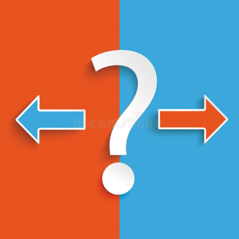 Blue Orange Question 2 Arrows. Question mark exclamation mark on the blue and orange background royalty free illustration