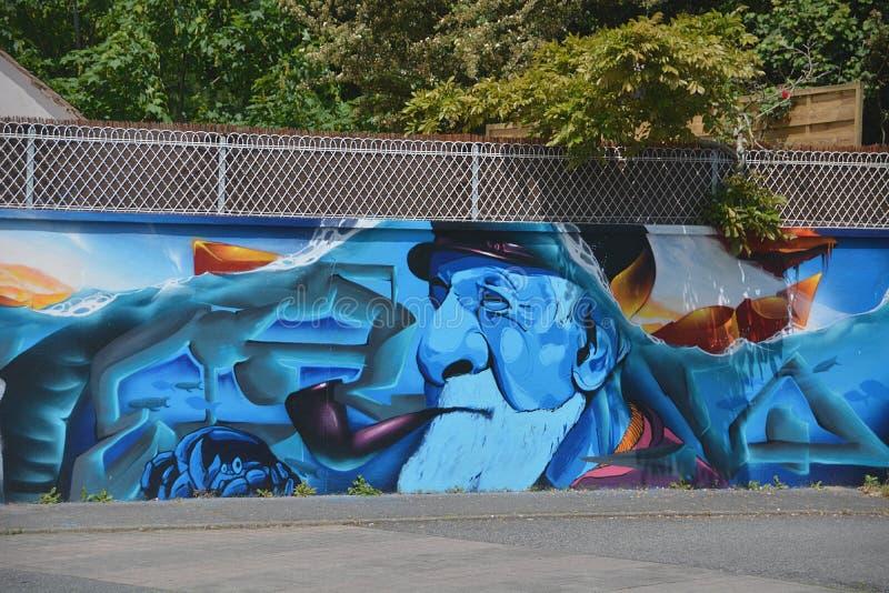 Blue Orange And Tea Man Smoking Tobacco Wall Paint Free Public Domain Cc0 Image