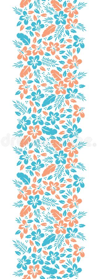 Blue and Orange Tropical Exotic Foliage, Hibiscus Vertical Floral Vector Seamless Border. Lush Tropical Blooms royalty free illustration
