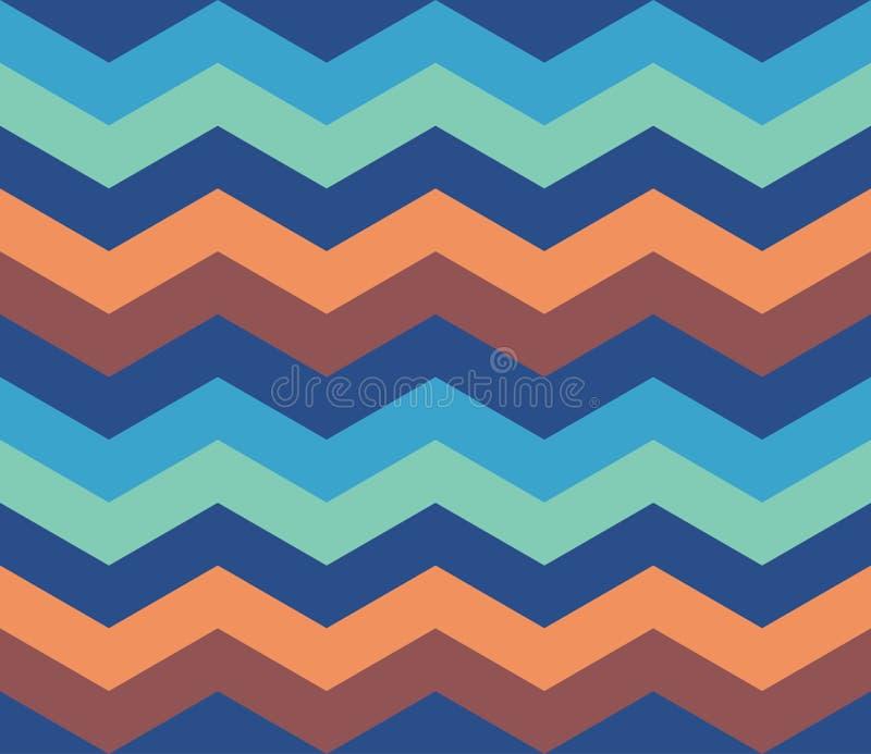 Blue Orange Zigzag Retro Pattern seamless background royalty free stock photo