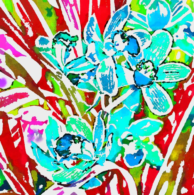 Bright blue Orchid on a background of red leaves. royalty free illustration