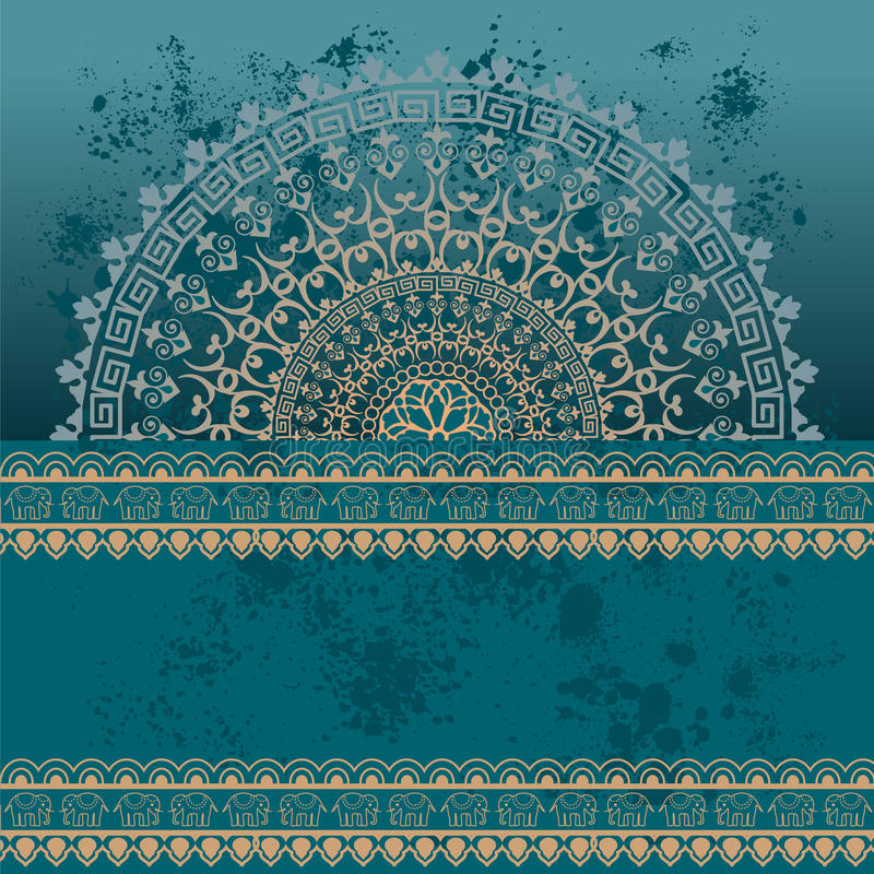 Blue oriental grunge henna mandala background. Colorful blue vintage oriental henna mandala and border design with grunge background and banner for text stock illustration