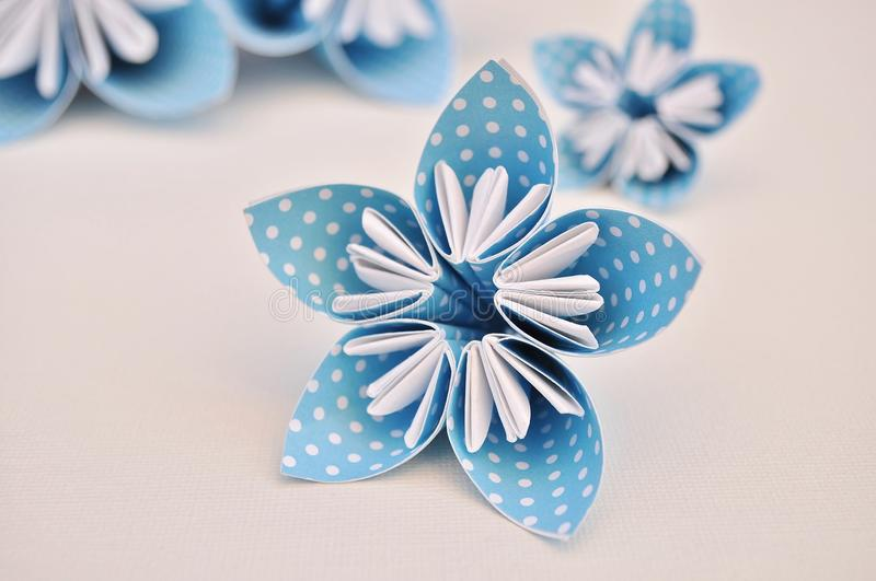 Blue origami flower. Blue origami flower made of polka dotted paper royalty free stock photos