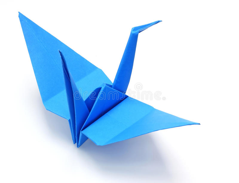 Blue origami paper crane stock photography