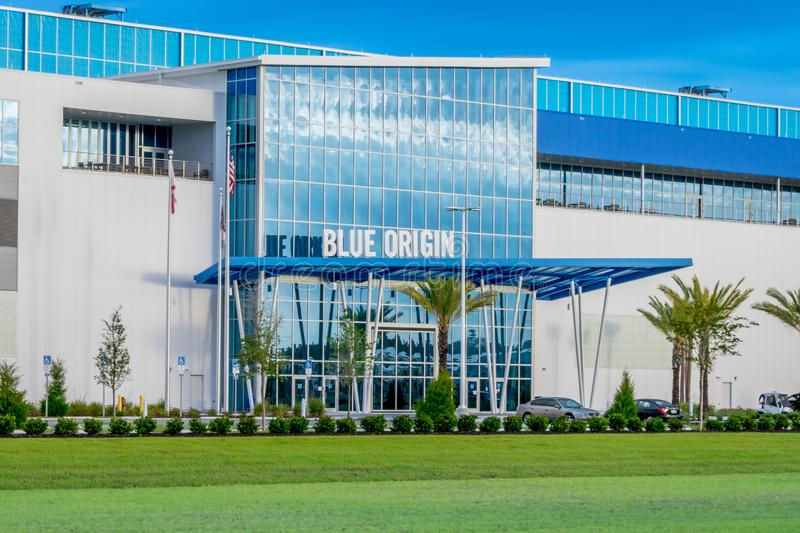 Blue Origin Building. Cape Canaveral, Florida - May 12, 2019: Blue Origin launch vehicle production facility was founded by Jeff Bezos and is located near the stock photo