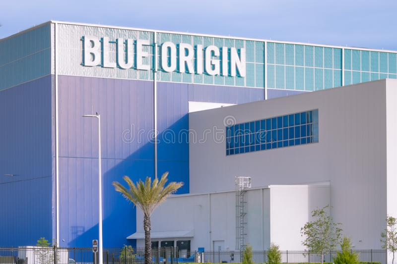 Blue Origin Vehicle Production Facility. Cape Canaveral, Florida - May 12, 2019: Blue Origin launch vehicle production facility, founded by Jeff Bezos, is royalty free stock photo