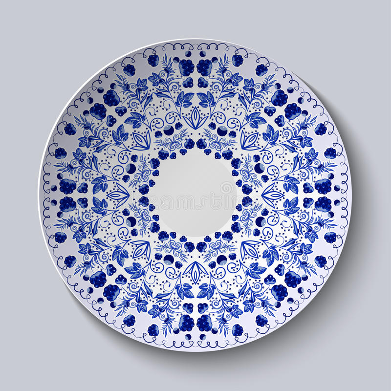 Blue ornament of berries and flowers. Pattern is applied on a ceramic plate. stock illustration