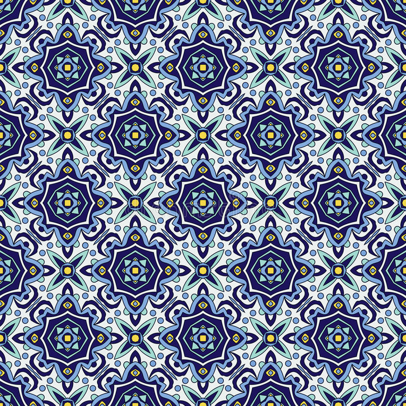 Blue ornament traditional Portuguese azulejos. Oriental seamless pattern royalty free illustration
