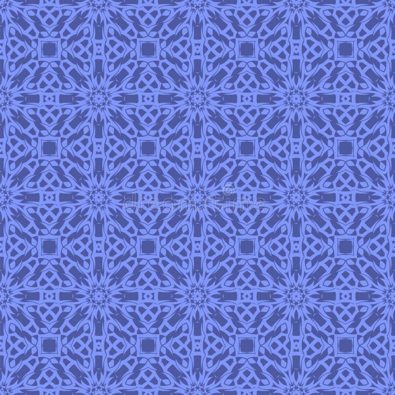 Blue Ornamental Seamless Line Pattern. Endless Texture. Oriental Geometric Ornament stock illustration