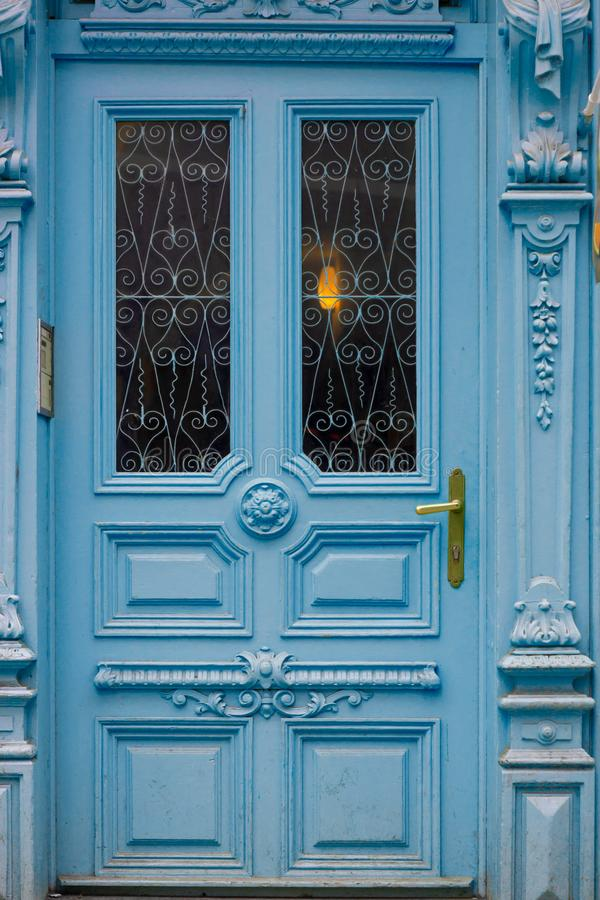 Blue ornate front door royalty free stock images