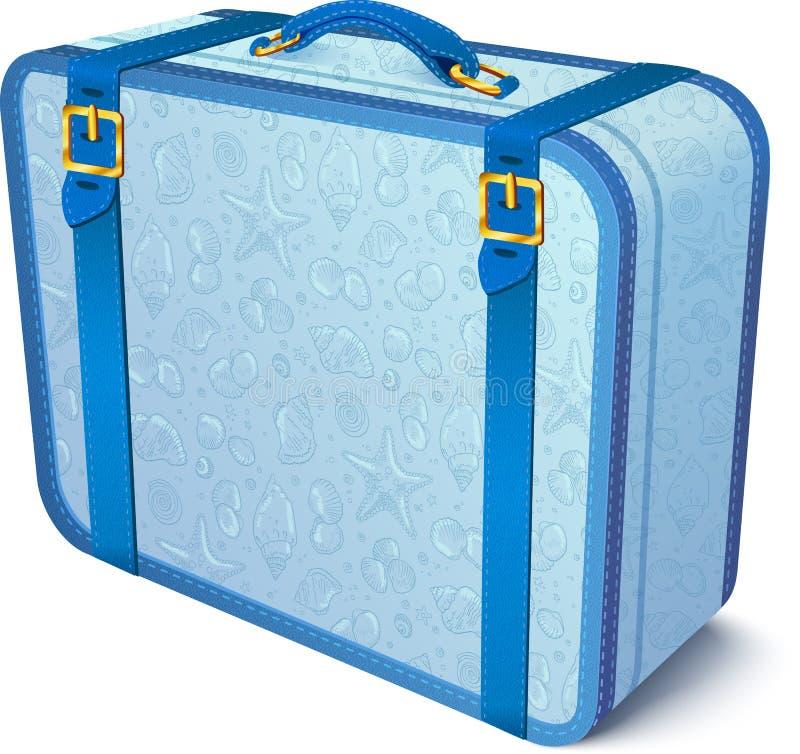 Blue ornate traveler s vector suitcase