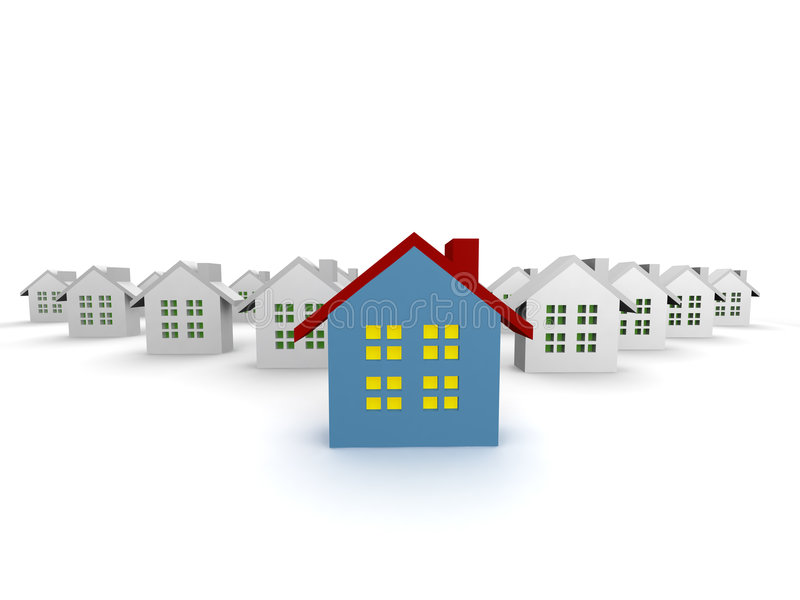 Download Blue outstanding 3d houses stock illustration. Image of home - 8428036