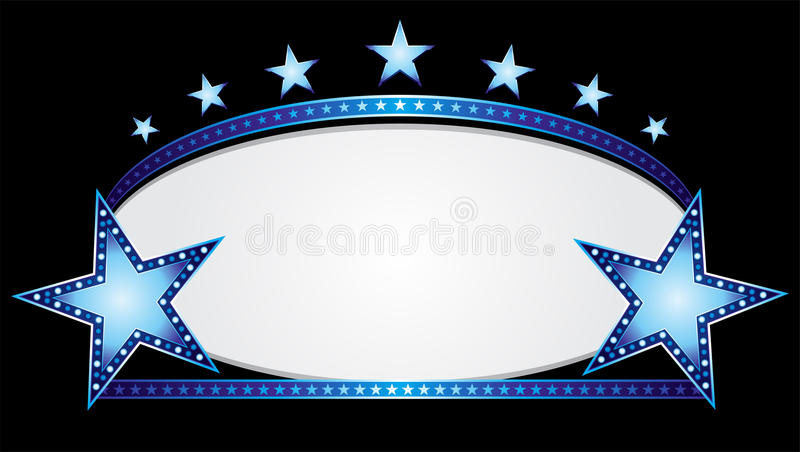 Blue oval. Shiny neon stars over blue oval banner royalty free illustration