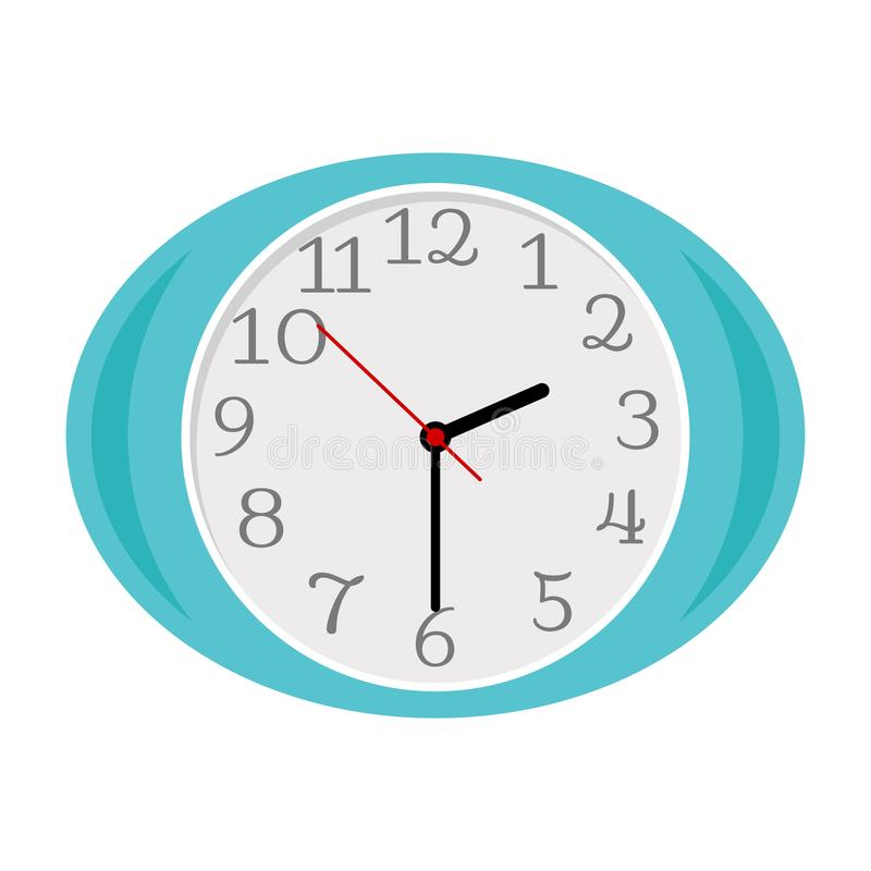 Blue oval clock isolated on white royalty free illustration