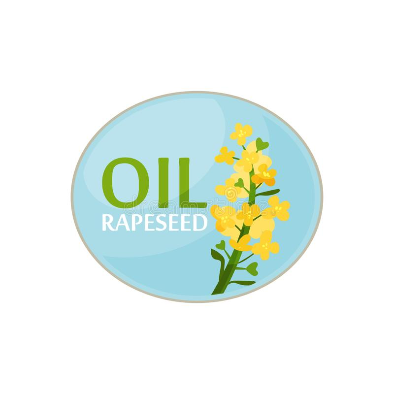 Blue oval sticker with bright-yellow rapeseed flower and text. Healthy product. Design for label of oil bottle or promo royalty free illustration