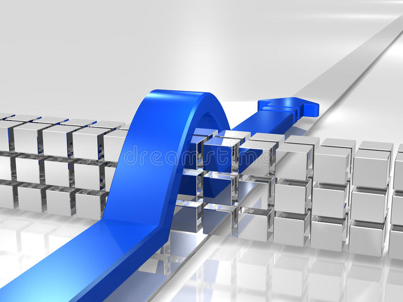 Blue overcomes the obstacles. stock photo