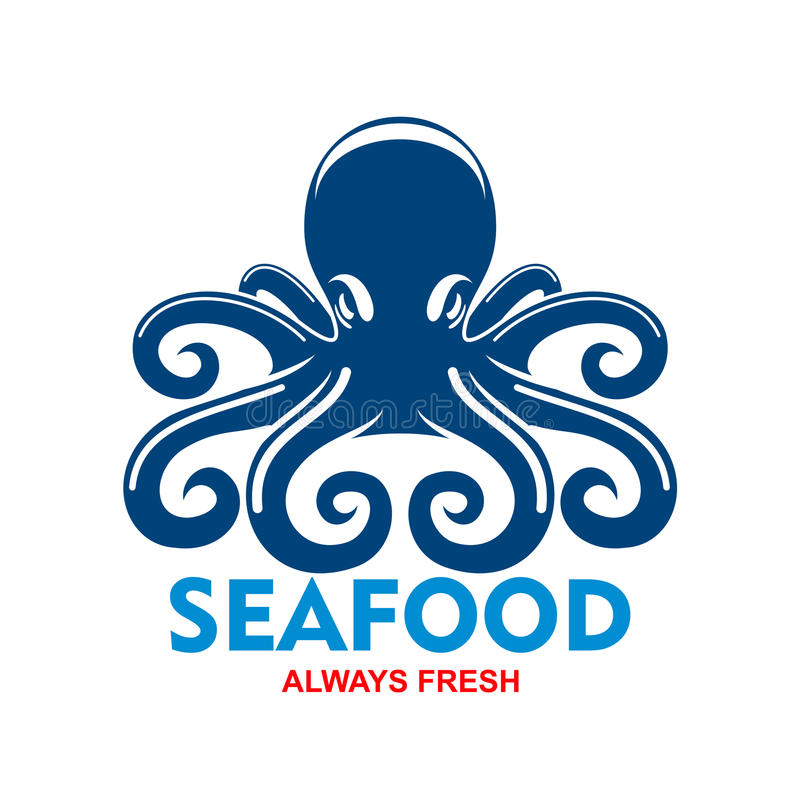 Blue pacific octopus icon for seafood menu design royalty free illustration