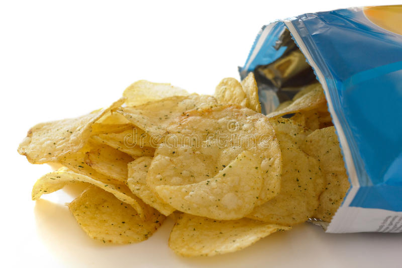 Blue packet of crisps stock photography
