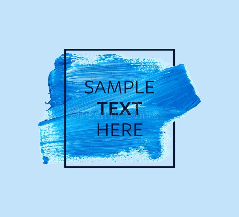 Blue paint with border frame and text stock illustration