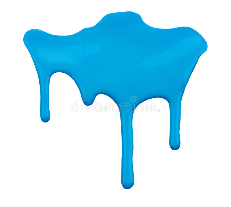Blue paint dripping isolated on white. Background royalty free stock photo