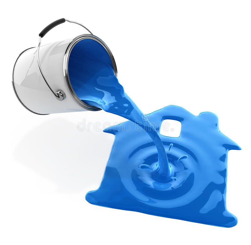 Blue paint pouring from bucket in house silhouette. 3d-illustration, isolated on white background, with clipping path included